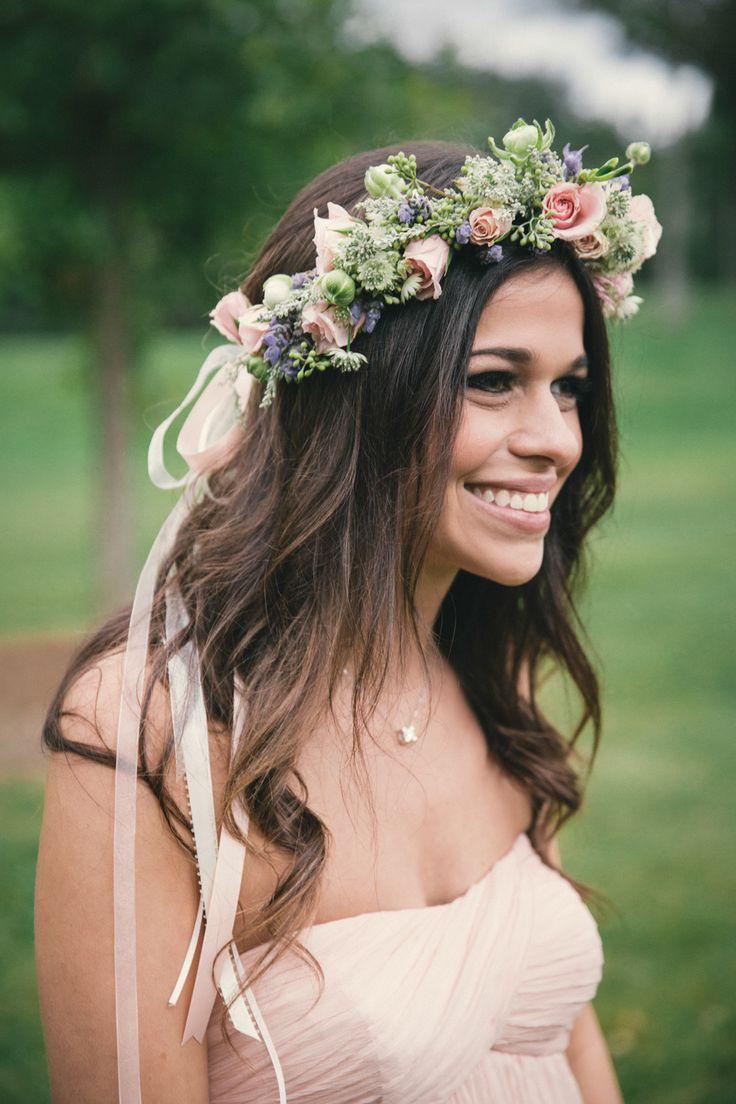 Bridesmaid with flower crown. Photography: Josh Goleman - theweddingac.com