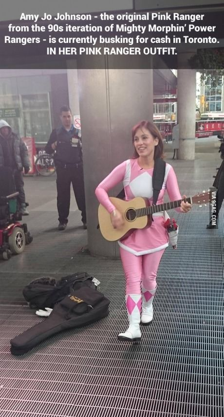 Here's a Picture of the Original Pink Ranger, Busking For Cash. what is she doin...???