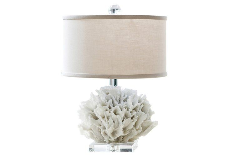 The ribbon detailing and coral finial on this modern table lamp make it feel so special!