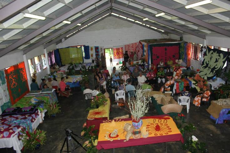 Women's hand-craft display at Alofi North Hall leading up to their show day 28/9/13