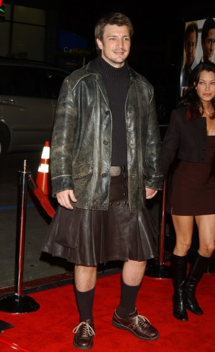 Nathan Fillion in his leather kilt