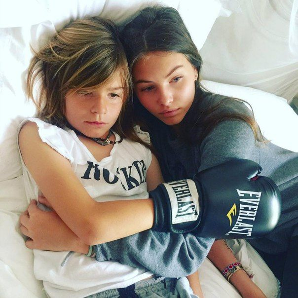 Thylane Blondeau and her brother