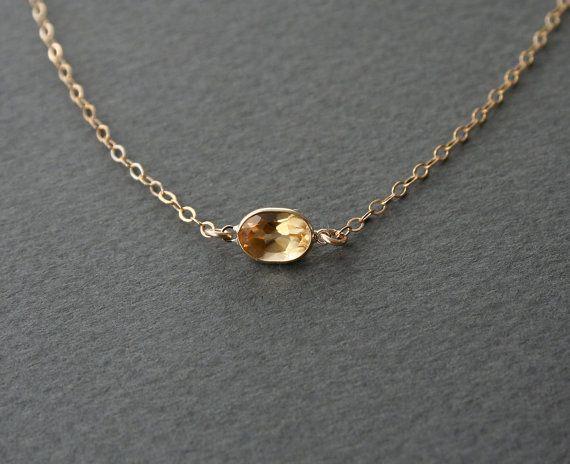 Gold Citrine Necklace - Citrine Gem Jewelry, November Birthstone Jewelry, Great Holiday or Birthday Gift