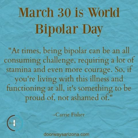 Bipolar is a mental illness that usually presents itself in the late teens to early twenties. According to the National Institute of Mental Health, around 11% of today's youth have a mood disorder, which in some cases develop into bipolar disorder. The vision of World Bipolar Day is to bring world awareness to bipolar disorders and to eliminate social stigmas surrounding the illness. #WorldBipolarDay