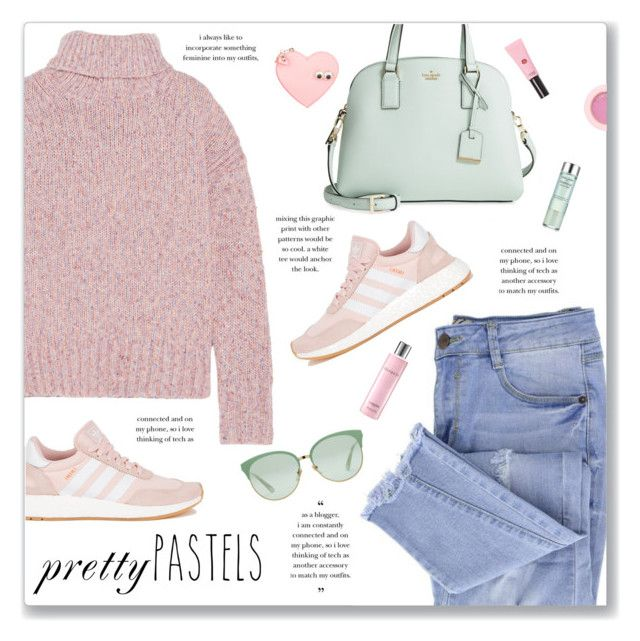 """""""Pastel Sweater"""" by kellylynne68 ❤ liked on Polyvore featuring Essie, J.Crew, Kate Spade, adidas, Sophie Hulme, Lancôme, Gucci, Estée Lauder, Sweater and pastel"""