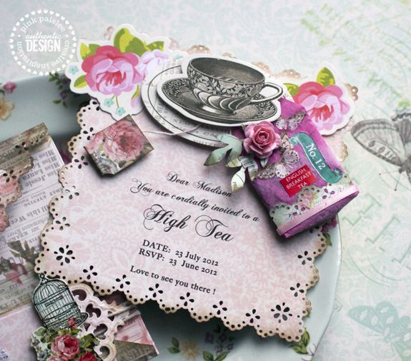 Maybe without the teabag (or at least not a decorated one)? Nice border and distressing You are Invited: High Tea Invitations | Pink Paislee