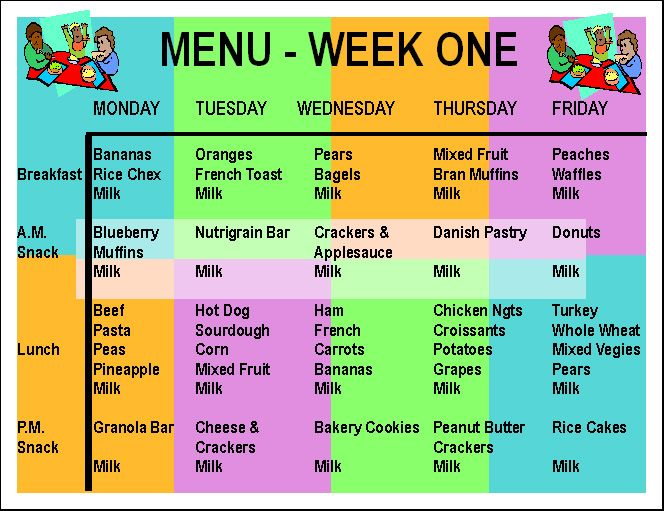 Week one menu recipes pinterest day for Daycare food menu template