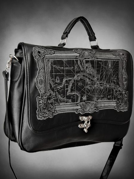 Gothic Restyle MAP BLACK eco leather black steampunk bag