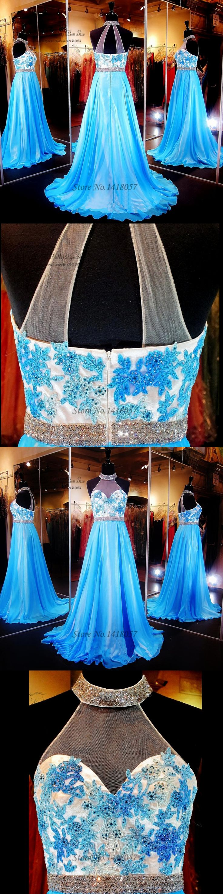 Vestido de Formatura Blue Long Prom Dresses 2016 Lace Dress for Graduation Vestidos de Graduacion Belt Rhinestones Party Dress