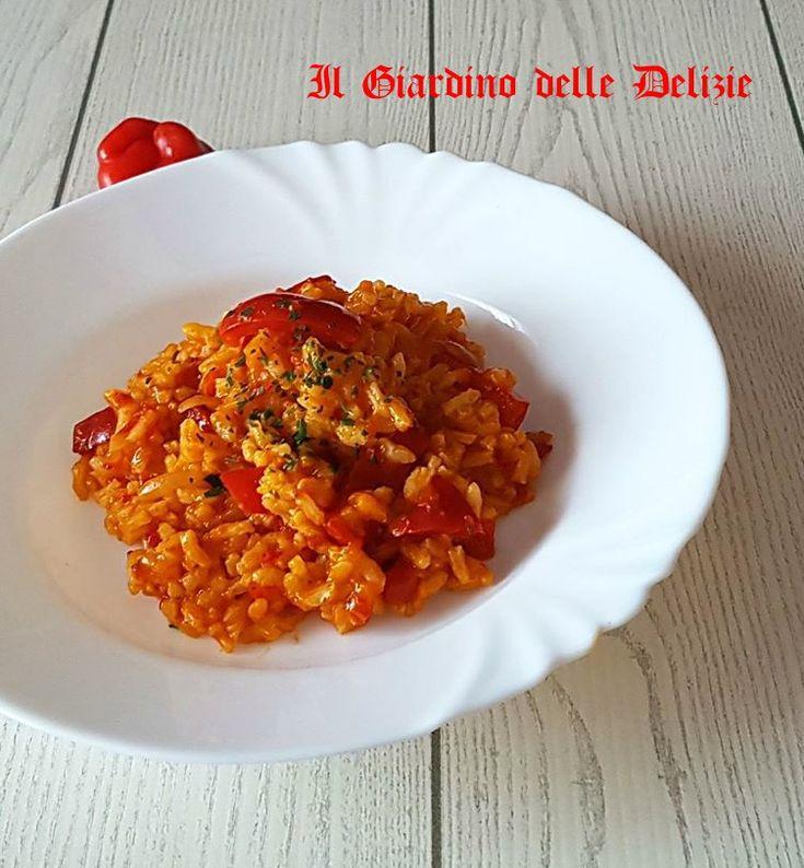 Risotto con crema di peperoni rossi