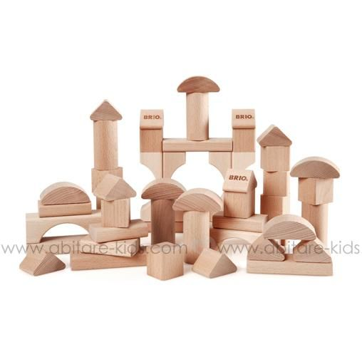 TODDLER BUILDING Brio Blocs de construction en bois naturel