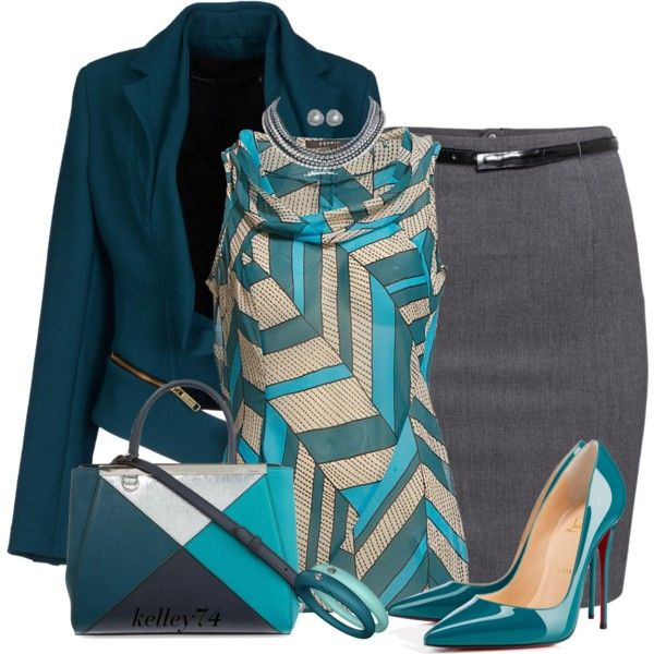 Jacket is not my style but I like the blouse and colors. Wear to work.