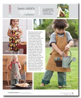 "Wearing an apron while preparing food, cleaning, watering plants, or creating art keeps clothes clean and dry, but it also helps kids focus on the task at hand-to ""become"" the chef, the dish washer, or the artist. The Basic Child's Apron features an elastic neck strap that fits easily over a child's head, even one with ponytails. A Velcro waist strap is easy for young children to manage.Basic Child, Aprons Pattern, Sewing Liberal, Free Pattern, Kids Aprons, Sewing Pattern, Children Aprons, Child Aprons, Sewing Daily"