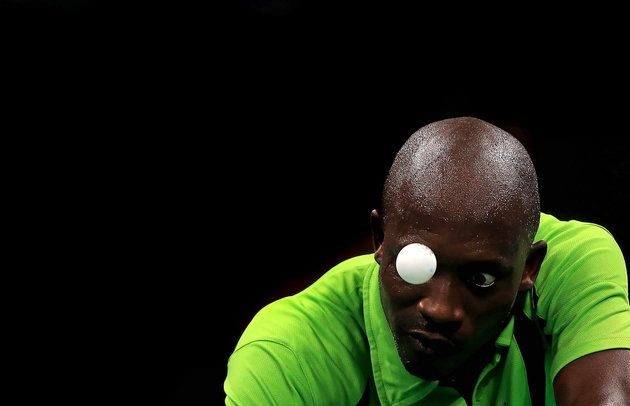 Segun Toriola of Nigeria plays a Men's Singles second round match against Koki Niwa of Japan on Day 2 of the Rio 2016 Olympic Games.| Best Photos From The Rio Olympics
