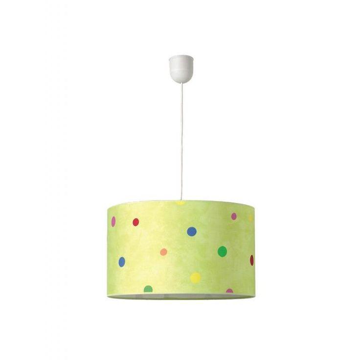 Lampara Infantil EDDY con divertidas motas de colores sobre fondo verde.  Lámpara techo Infantil EDDY verde 40x24 cm  #lamparaonline #lamparatecho #lamparainfantil #lamparaeddy #decoracioninfantil #decokids