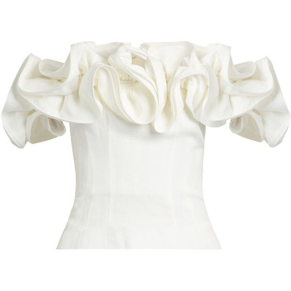 Brock Collection Theresa off-the-shoulder ruffled linen top (£1,510) ❤ liked on Polyvore featuring tops, blouses, white corset, linen blouse, evening blouses, off the shoulder tops and white off shoulder blouse