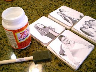 ceramic photo tiles - fun idea - this could go with the idea that everyone has a coaster so you know which cup belongs to which person...
