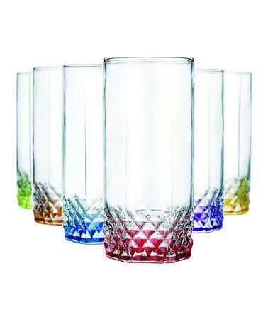 Color Bottom Diamond Glass Set #zulily #zulilyfinds