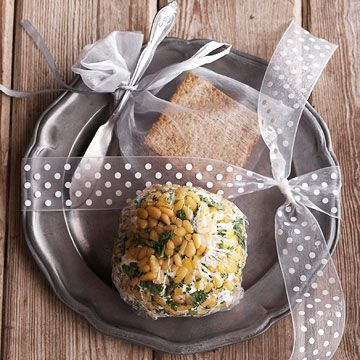Ribbon-Adorned Plate for Cheese Ball and crackers
