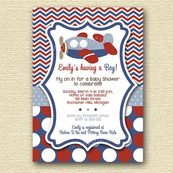 Chevron Polka Dot Airplane Baby Shower Invitation   PRINTABLE INVITATION  DESIGN