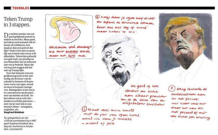 "8 vind-ik-leuks, 3 reacties - Siegfried Woldhek (@siegfriedwoldhek) op Instagram: 'Vandaag een tekenles ""Trump in drie stappen"" in NRC, ivm 1000e portret voor deze krant.  Morgen…'"