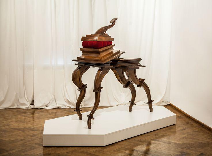 Radu Cioca - Superbia (2007) Wild cherry wood/ Velvet/ Bronze 275 x 120 x 170 cm