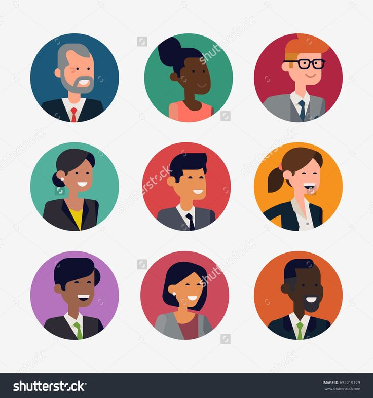 Lovely set of various user pics or character icons. Cool vector flat design on profile images or round portraits featuring people of various racial groups and genders.