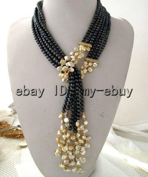 """3Strands Black Freshwater Pearl&Champagne Petal Keshi Keishi Pearl Necklace 50"""" #Unbranded #StrandString"""