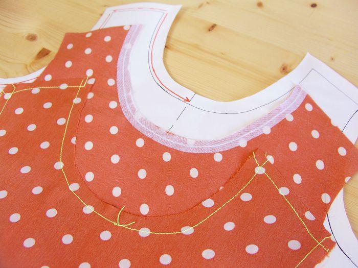 Cuando cortamos un patrón en tejido hay partes, como escotes y hombros, susceptibles de estirarse al no seguir la dirección del hilo.recto