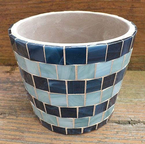 Olla de barro mosaico de cristal hecho a mano