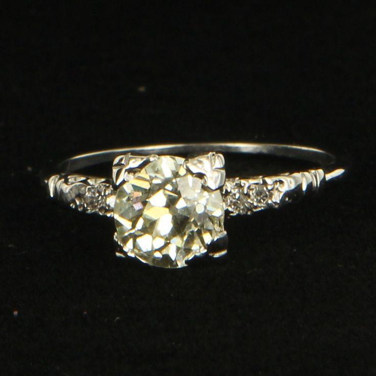 Art Deco 14 Karat White Gold Diamond Engagement Ring Fine Vintage Jewelry Bridal $3895