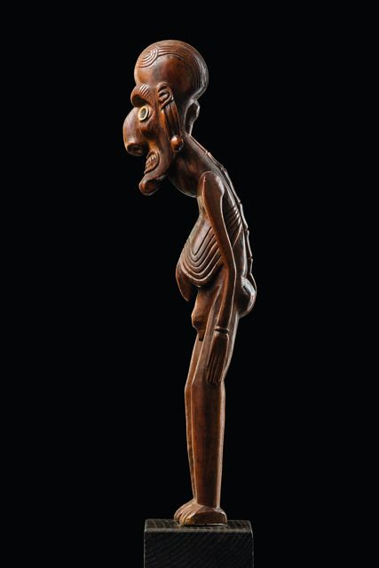 Lot : Male figure moai kavakava - Easter Islands - - wood... | Dans la vente Art Tribal Vente 78 à Zemanek-Münster