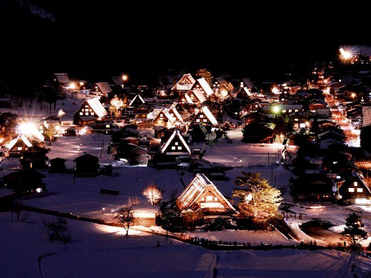 Shirakawagou  Light up  Gifu Japan  白川郷 ライトアップ