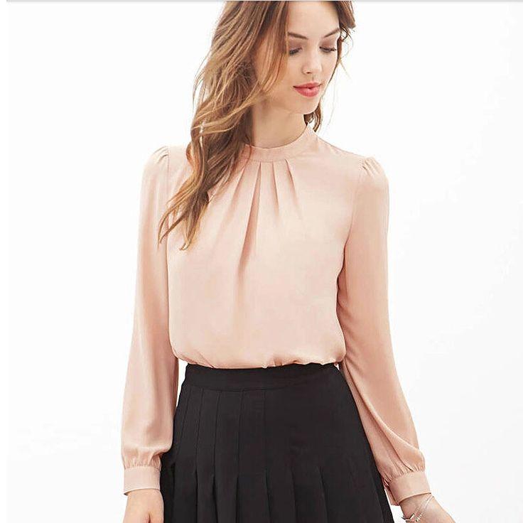 Feitong 2016 Blusas feminina Women Elegant Chiffon Blouses Sexy Blouse Shirt Casual Long Sleeve Shirt Ladies Work Office Shirt