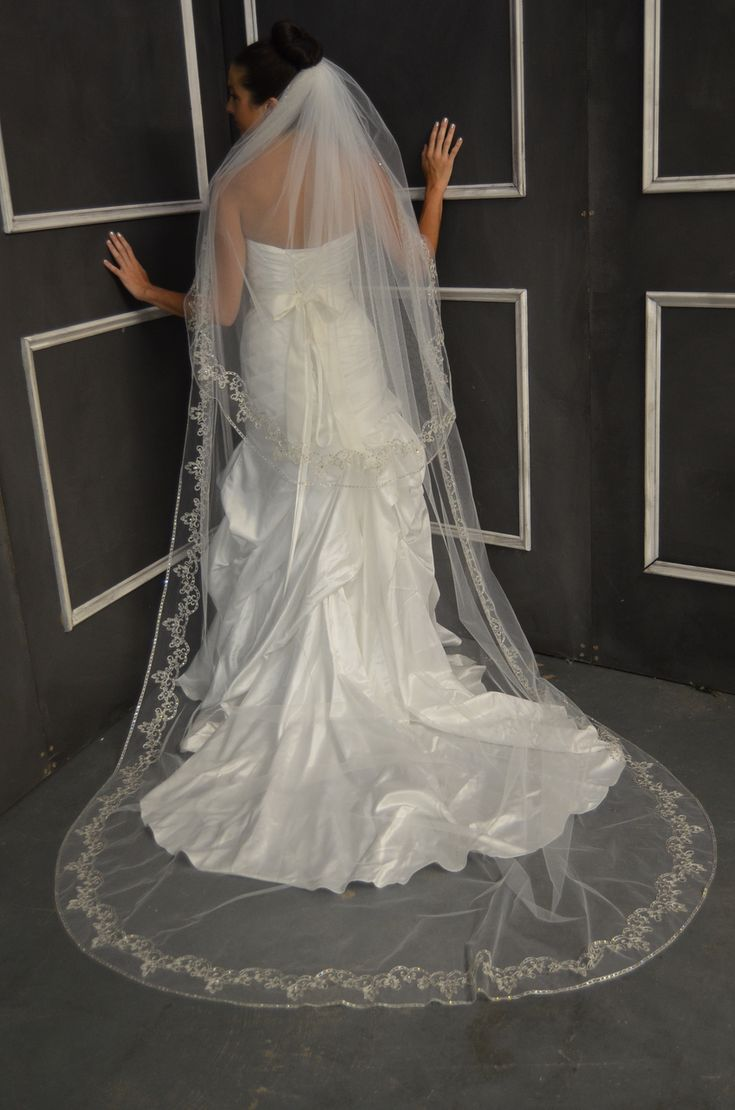 Beaded Embroidery Elena Designs E1149l Cathedral Wedding Veil