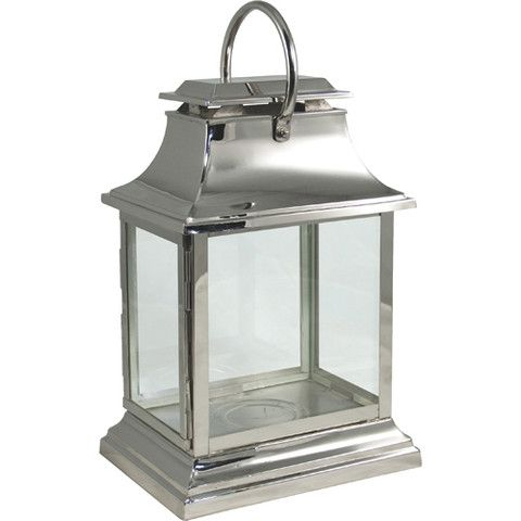 Wide Rectangular Chrome Storm Lantern