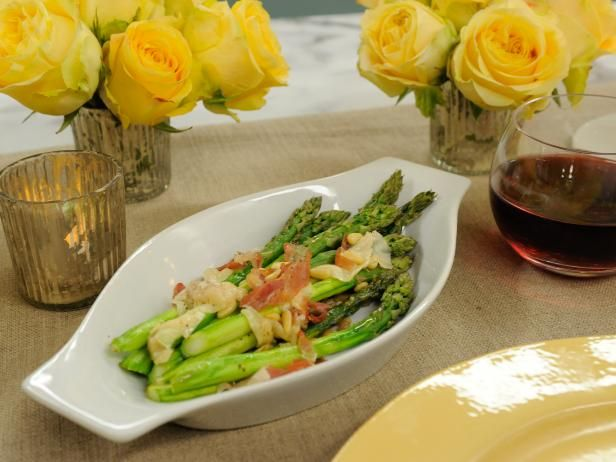 Get Roasted Asparagus with Prosciutto, Pine Nuts and Shaved Parmesan Recipe from Food Network