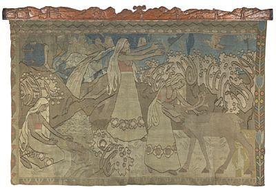 """GERHARD MUNTHE ELVERUM 1849 - BÆRUM 1929  """"De Tre Brødre"""" 1900 Billedvev, 150x230 cm Signert oppe til høyre: G. Munthe Utskåret trelist oppe, signert til høyre: HM (?) Mål: 14x242 cm  Etter kartong fra ca. 1900, dette trolig tidlig 1900."""