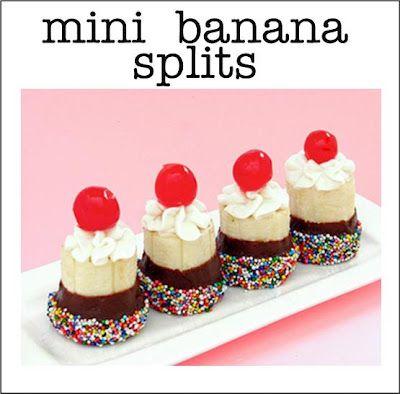 Mini banana splits. The source cored & added ice cream, but I would even skip that step.  Yummy & cute!!