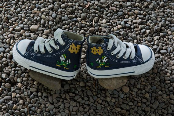 Hand Painted Converse Kids. Fighting Irish. Notre Dame Football. Leprechaun. on Etsy, $94.65