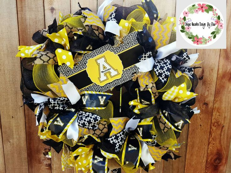 Appalachain State Wreath, Appalachian Wreath, Appalachian State Mountaineers Wreath, Mountaineers Wreath, Colleget Wreath - pinned by pin4etsy.com