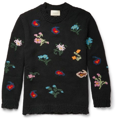 Floral Intarsia Wool-Blend Sweater - Gucci