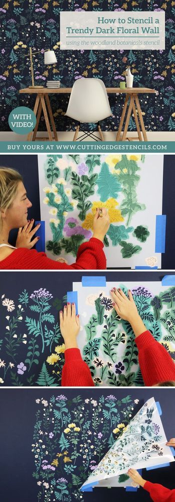 How To Stencil A DIY'd Trendy Dark Floral Wall