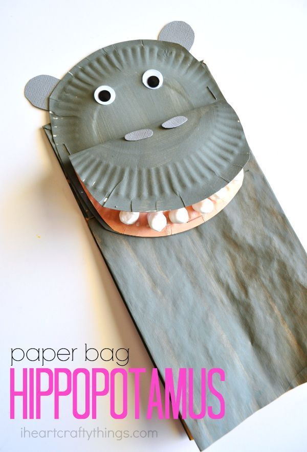 Fun Paper Bag Hippopotamus Kids Craft that couples great as a puppet for pretend play. The marshmallow teeth are a fun touch for kids!