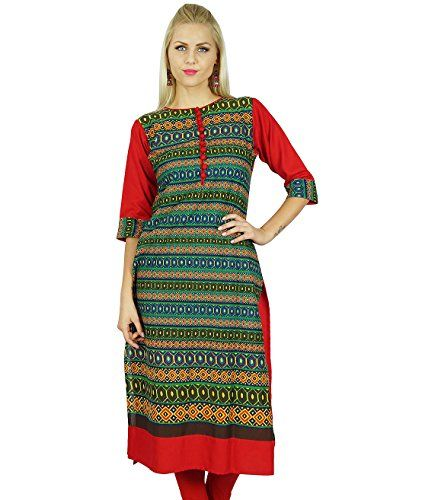 Bimba Women Indian Cotton Kurti Indian Ethnic Tunic 3/4th Sleeve Red Green Blouse - The Ultimate Shopping Portal