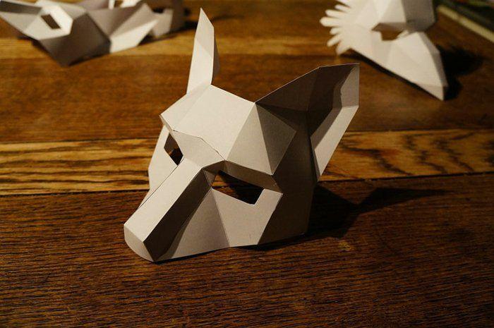 tiermasken aus papier falten und  basteln