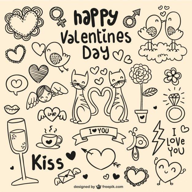 Garabatos del día de San Valentín Vector Gratis