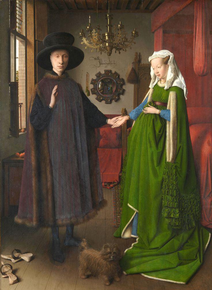 MATRIMONIO ARNOLFINI  es una pintura gótica flamenca, realizada por Jan Van Eyck. Óleo sobre madera, predominando alternancia de gamas y mayor naturalismo. Tema religioso mostrando un retrato psicológico con gran simbología: los pliegues ambulosos del traje femenino  representa la maternidad, el perro la fidelidad, la manzana pureza.. Toda la escena aparece en la habitación del matrimonio que el autor emplea como fondo.