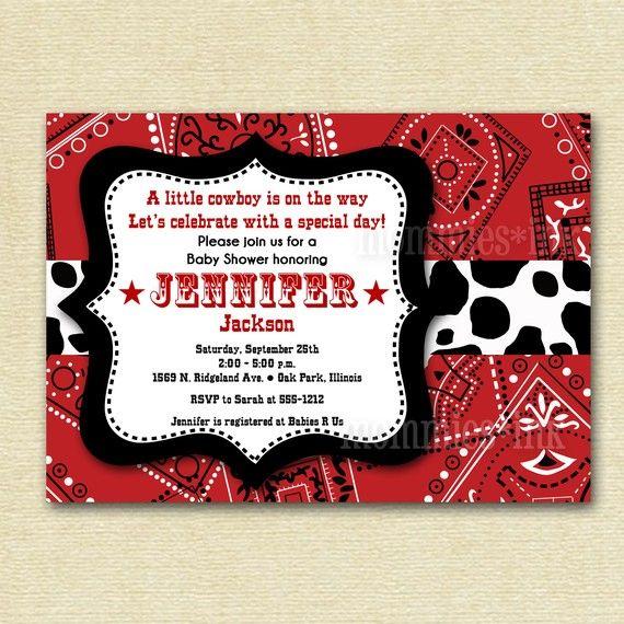 Western Cowboy Bandana Baby Shower Invitation  by MommiesInk, $12.00