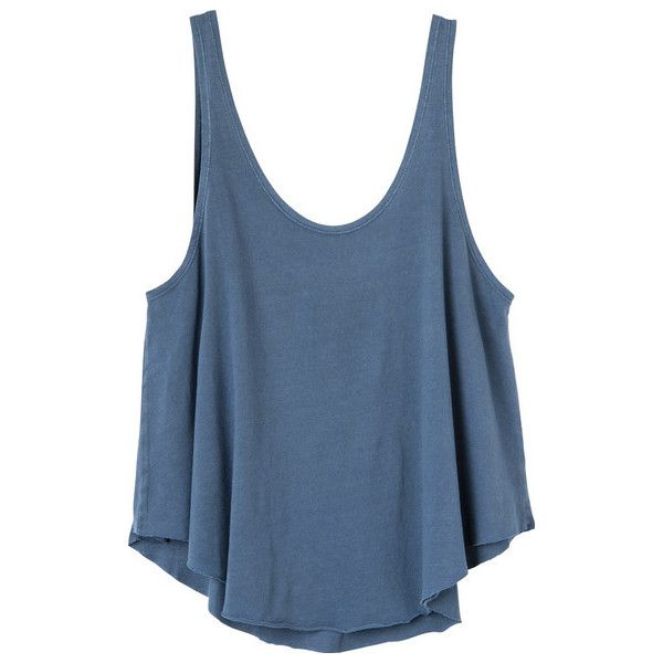 RVCA Women's  Label Drape Tank Top (£18) ❤ liked on Polyvore featuring tops, shirts, blue jersey, loose fit tank top, rvca shirts, blue tank and drape shirt